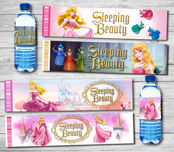 Princess Aurora Bottle Water Labels Stick Wrappers Baby Shower