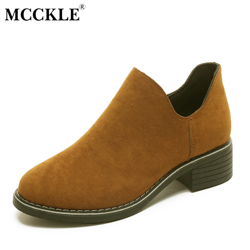 MCCKLE Fashion Zip Slip On Female Autumn Boots For Women Suede Chunky Heel  Ankle Boots 2017 Sewing Black Low Heels Woman Shoes mcckle women high heels ankle boots female buckle slip on suede shoes woman platform spring autumn casual shoes black size 35 39