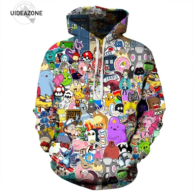 4a71b40cc07 2017 All Over Printed Hoodie Cartoon Character Graphic Tracksuit Men Women  Funny Casual Tops Sudadera Pullovers