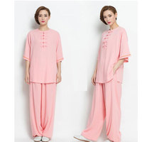 Spring and Summer Cotton and Linen Tai chi Clothing Women Tai chi Suit Female Half Sleeve Kung fu Uniform Morning Exercise Sets