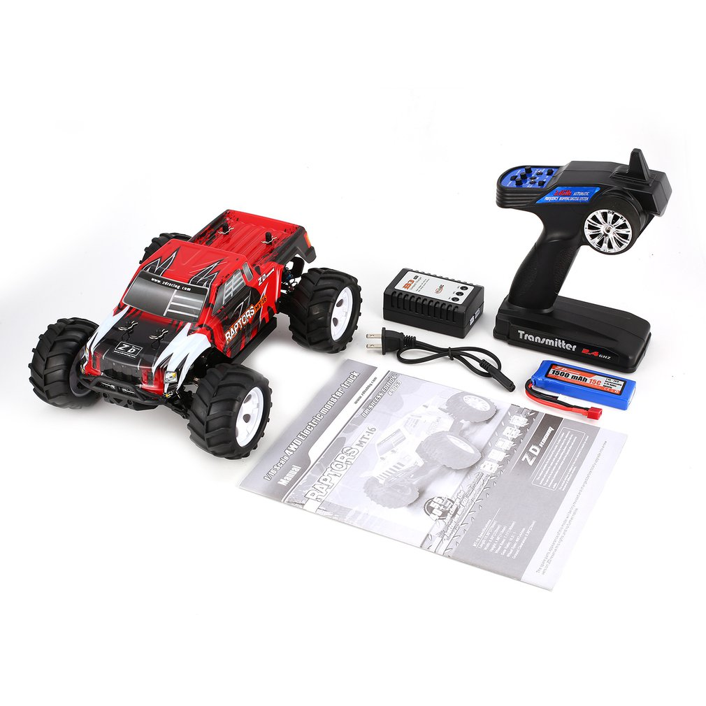 ZD Racing MT-16 1/16 Scale 2.4G 40km/h High Speed Brushless Off-Road Truck Big Wheels Bigfoot RC Car Remote Control Kids GiftZD Racing MT-16 1/16 Scale 2.4G 40km/h High Speed Brushless Off-Road Truck Big Wheels Bigfoot RC Car Remote Control Kids Gift