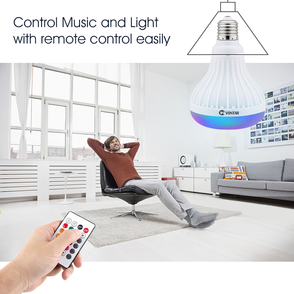 VONTAR E27 B22 Wireless Bluetooth Speaker+12W RGB Bulb LED Lamp 110V 220V Smart Led Light Music Player Audio with Remote Control 6