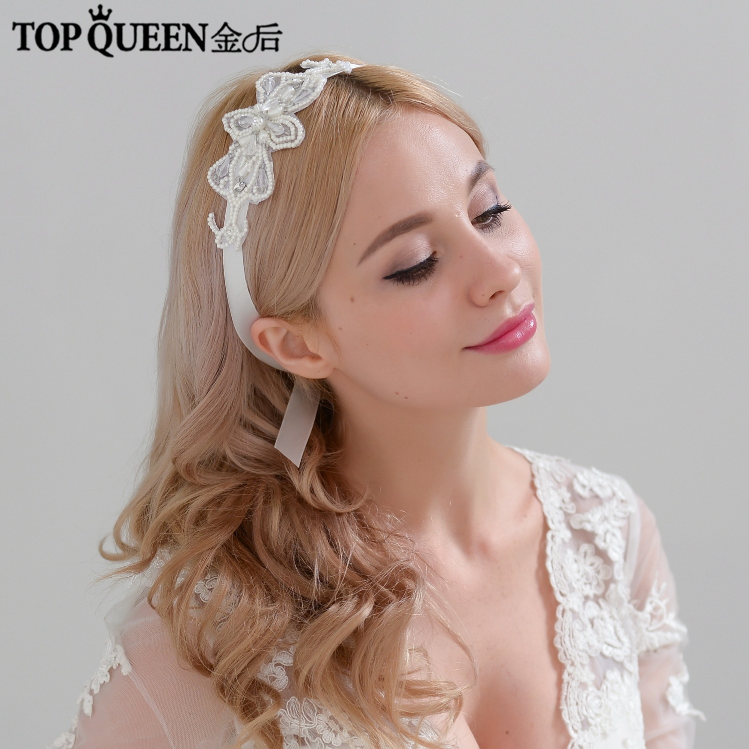 TOPQUEEN H211 Hot Sales Bridal Headbands Wedding Hair Accessories With Lace Pearl  And Crystal Bridal Headpieces Shipping Stock