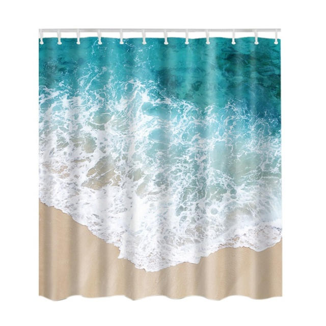 Shower Curtain Sea Beach Seascape Picture Print Bathroom Set Fabric Blue Sand White With Hooks