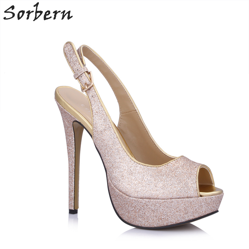 66154357611 Sorbern Rose Gold Slingbacks Night Club Party High Heel Shoes Peep Toe  Platform Shoes Ladies Summer Shoes For Women Custom Color