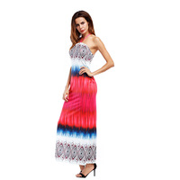 African Print Summer Strapless Beach Dress 2017 Bodycon Long Evening Maxi Elegant Wedding Party Casual Sexy