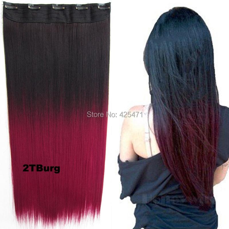 2460cm Black To Burgundy Wine Red Ombre Dip Dye Straight Full