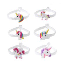 Unicorn Rubber Bangle Bracelet Birthday Party Decorations for Kids Colorful Unicorn Decor Party Supplies(China)