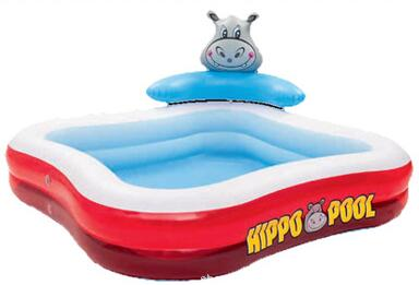 201cm Spring Eco-friendly PVC Kids Baby Inflatable Hippo Cartoon Play Swimming Pool Piscina Children Kids Large Swim Boat S7009 381cm eco friendly pvc kids baby inflatable slide play swimming pool piscina children kids large swim boat s7010