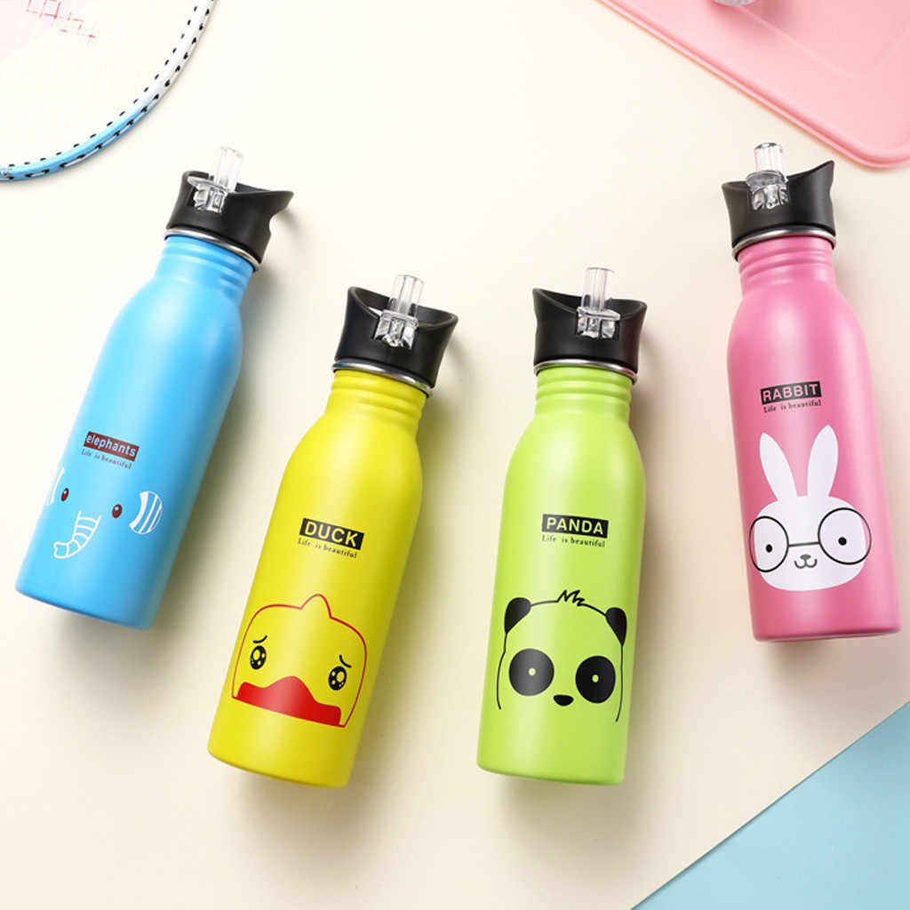 Portable Stainless Steel Cute Animal Pattern Cup Outdoor Sports Bottle Travel Camping Cold Water Bottle Kids Water Bottle Y1