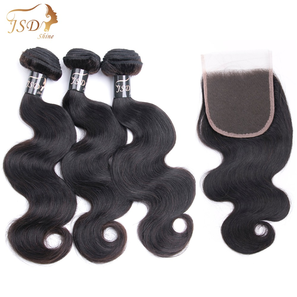 JSDShine Mongolian Body Wave Hair Bundles with Closure Natural Color Non Remy 3 Body Wave Bundles With Closure 100% Human Hair