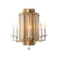 Phube Lighting Gold K9 Crystal Wall Lamp Retro Candle Wall Light Sconce Bedside Silver Wall Light Home Lighting