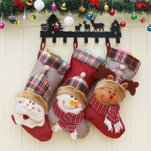 3pcs/lot Snowman Deer Christmas Ornaments Stockings Santa Claus Candy Sock Xmas Festival Gift Holders Bags