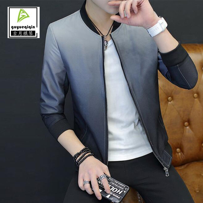 2017 Spring Autumn Gradient Jacket Men's Clothing Korean Thin Slim Zipper Stand Neck Jacket Casual Clothes Baseball Uniform XXXL