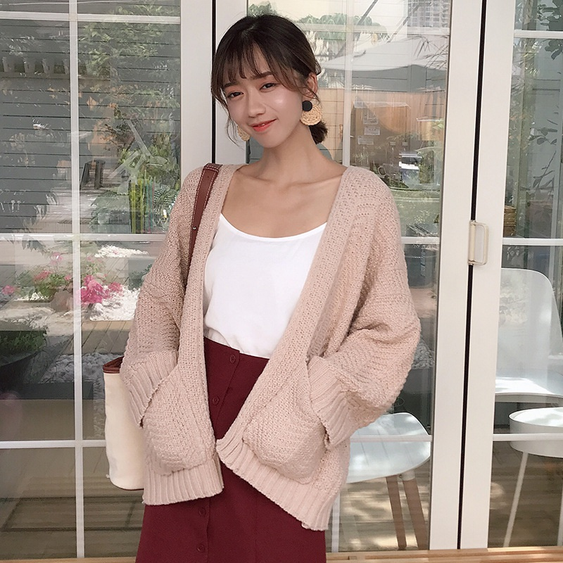 Korean Casual Female Pocket Sweater Long Sleeve Computer Knitted Autumn  Women Long Sweaters Open Stitch Solid Office Lady