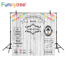 Placa de madeira personalizado de aniversário de casamento do fundo da foto cenário photocall Funnytree fotografia sessão de fotos photobooth