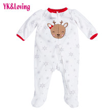 Newborn Thicken Warm Romper Boy/Girl Christmas Deer Long Sleeve Overalls Baby Autumn/Winter Jumpsuit One-pieces Infantil Clothes(China)