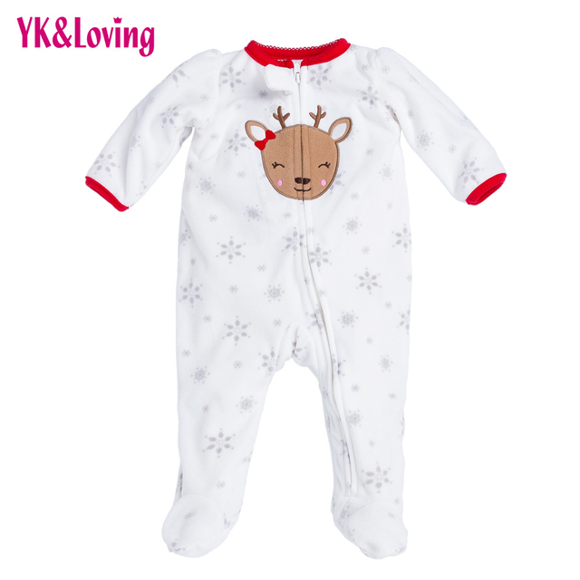 79194b826638 Newborn Thicken Warm Romper Boy Girl Christmas Deer Long Sleeve ...