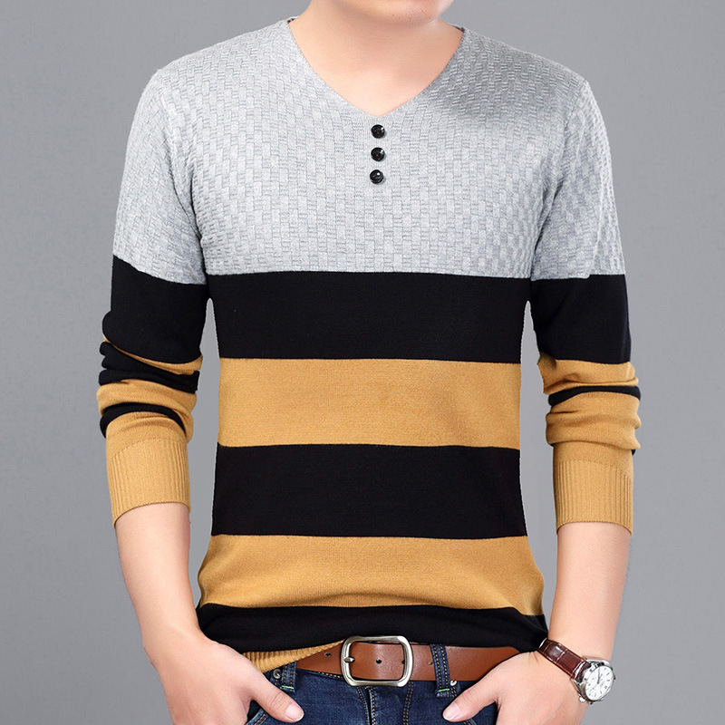 New arrival 2018 Spring Men Casual long sleeve T shirt men V neck font b men