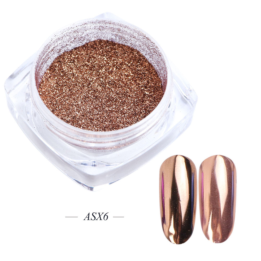 Зеркальный лак для ногтей, порошковая голографическая металлическая розовые, золотые, серебряные пылезащитные блестки, УФ-гель для ногтей, хромированное пигментное украшение CHC/ASX - Цвет: ASX6