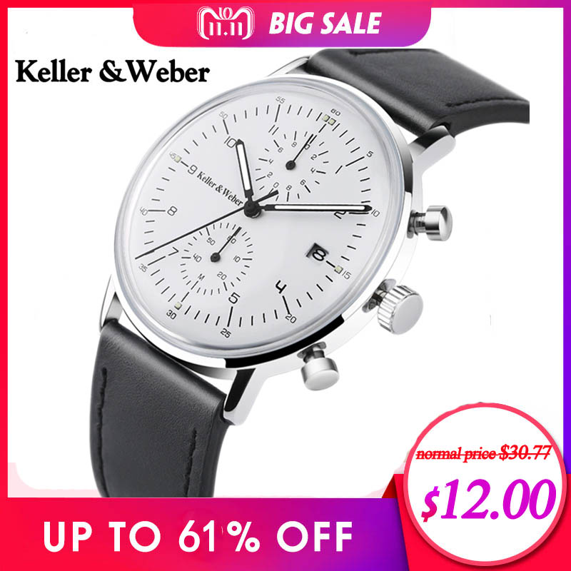 Keller & Weber Chronograph Men's Watch Top Luxury Gift Fashion Quartz Clock Male Genuine Leather Ultra Thin Watches for Men 2018 genuine jedir quartz male watches genuine leather watches racing men students game run chronograph watch male glow hands