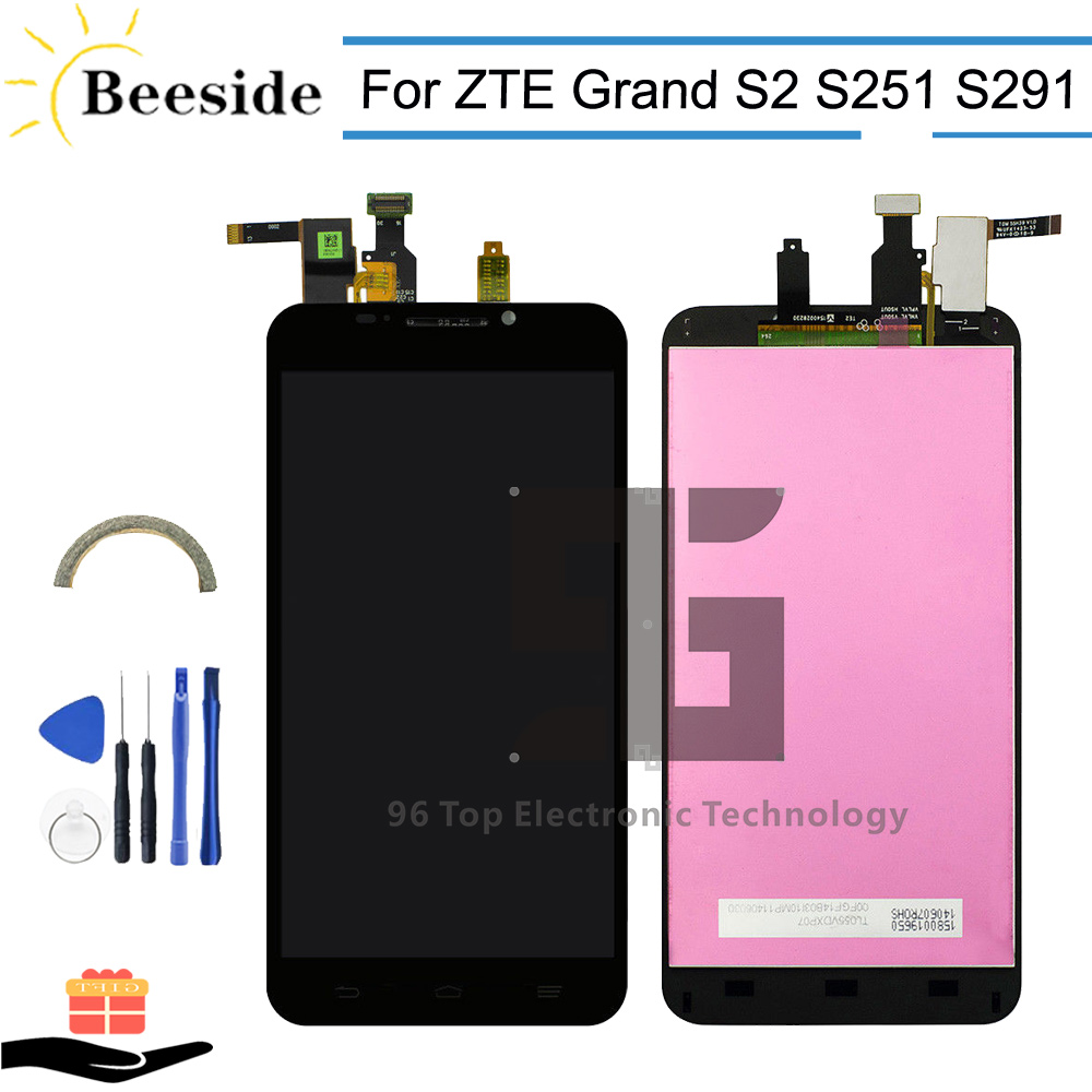 AA+ Quality LCD 5.5'' Black For ZTE Grand S2 S 2 II S251 S291 S252 S221 LCD Display Touch Screen Digitizer Assembly Replace