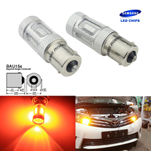 ANGRONG 2x SAMSUNG LED Chip 581 Ambra Indicatore Lampadine Per Auto Offset Spilli 12 v 15 w BAU15S PY21W Lampade