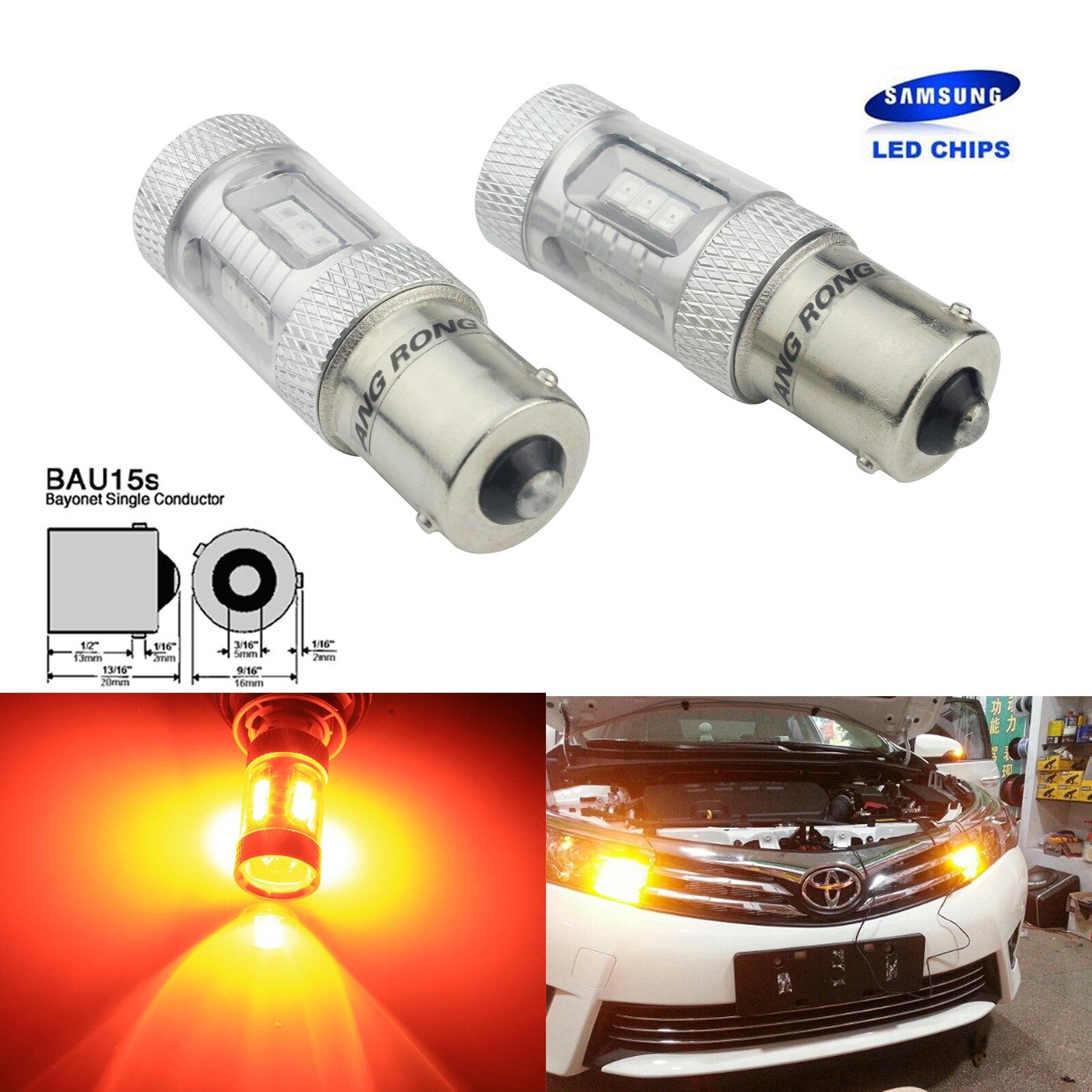 ANGRONG 2x SAMSUNG LED Puces 581 Ambre Indicateur De Voiture Ampoules Offset Pins 12 v 15 w BAU15S PY21W Lampes
