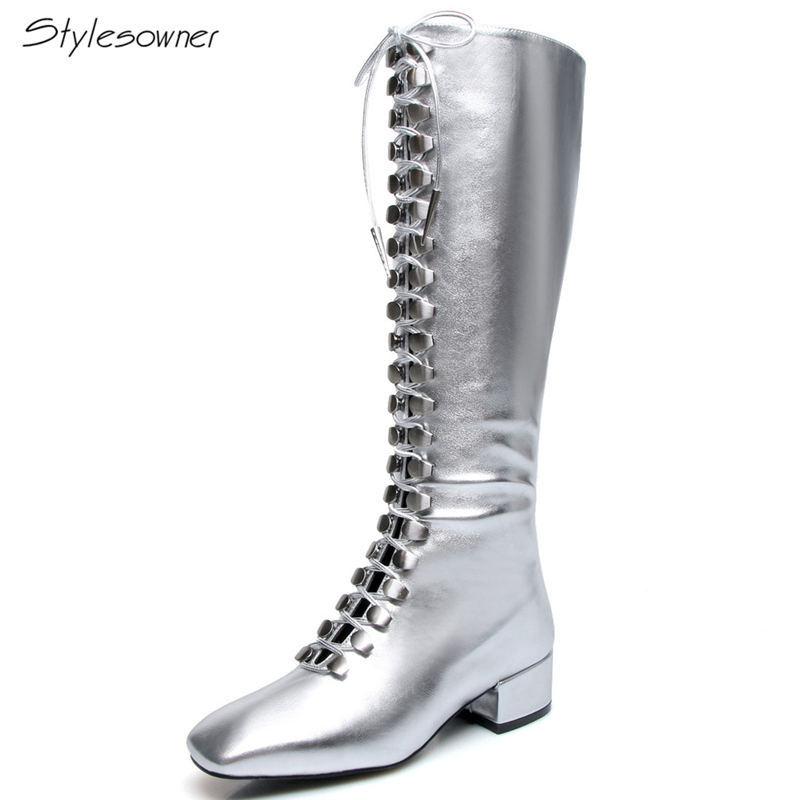 Stylesowner Women Cross Tied Long Boots Silver Sexy Mortorcycle Low Heels Boots Zipper Lace Up Square Toe High-Leg Tassel Botas цены