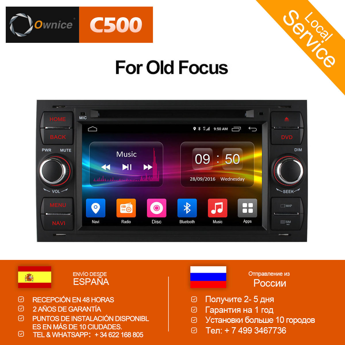 Ownice C500 Android 6.0 Octa 8 Core In Dash Car DVD Player Per Ford Mondeo Focus Transit C-MAX GPS Navi radio di Sostegno 4g LTE
