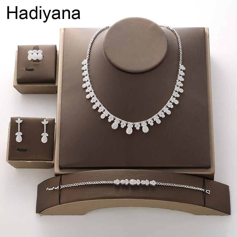 Hadiyana Luxury Bride Wedding AAA Zircon Set 2018 Hot Sets For Women Necklace Earrings Ring Bracelet