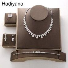 Hadiyana الفاخرة العروس الزفاف AAA الزركون مجموعة 2018 مجموعات ساخنة للنساء قلادة أقراط الطوق سوار مجوهرات هدية حفلة TZ8086
