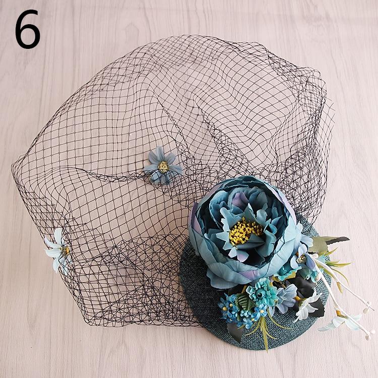 cm de tela de flores gran velo de fascinator del sombrero superior para las mujeres