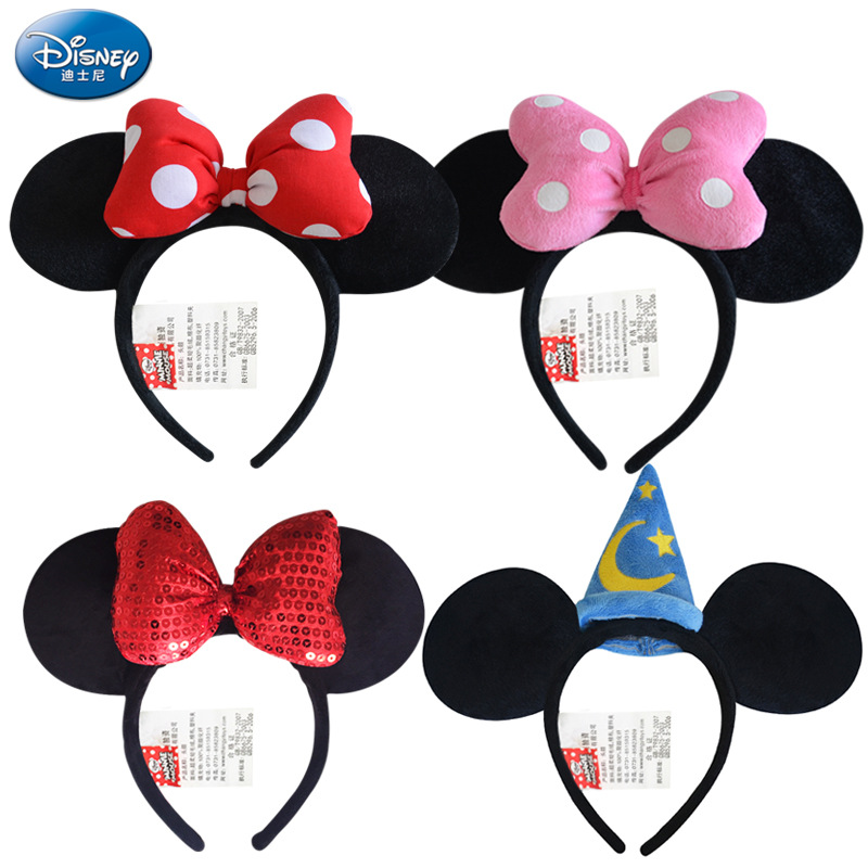 Disney Genuine Toy Minnie Mouse Headdress Disney Mickey Head Minnie Ears Girls Hair Bands Princess Head Hoop Plush Toys Kid Gift disney toddler girl s minnie mouse pink socktop slipper