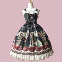 Party in Timing Tower ~ Sweet Printed Lolita JSK Dress Sleeveless Party Dress by Infanta