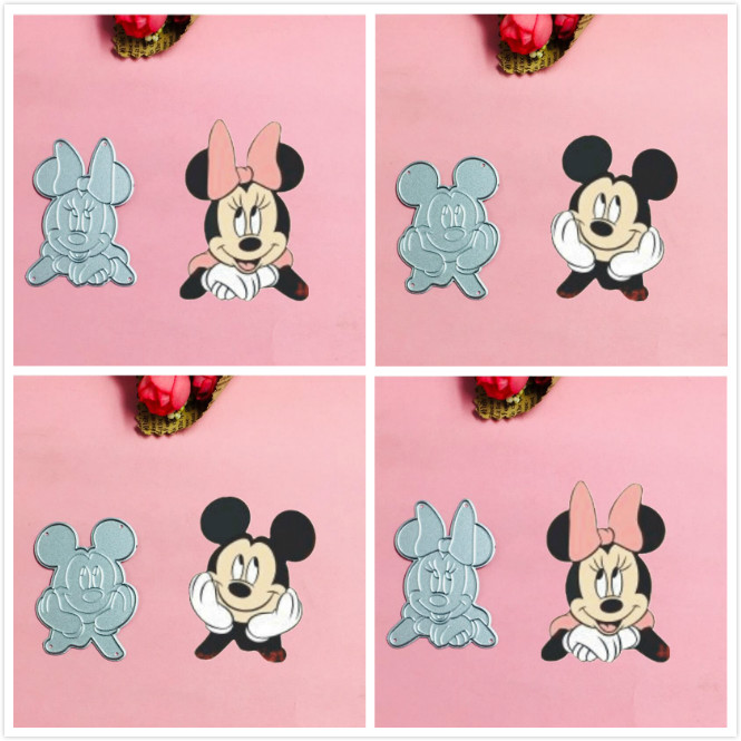 Mickey Minnie love bow Metal Cut Dies Christmas Stencils For DIY Scrapbook Paper Card Decorative Craft Embossing Die Cuts in Cutting Dies from Home Garden
