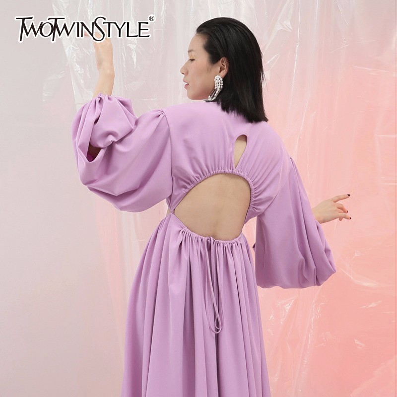 TWOTWINSTYLE Hole Backless Dress Female Lace Up Lantern Sleeve Hollow Sexy Draped Maxi Dresses Women 2019