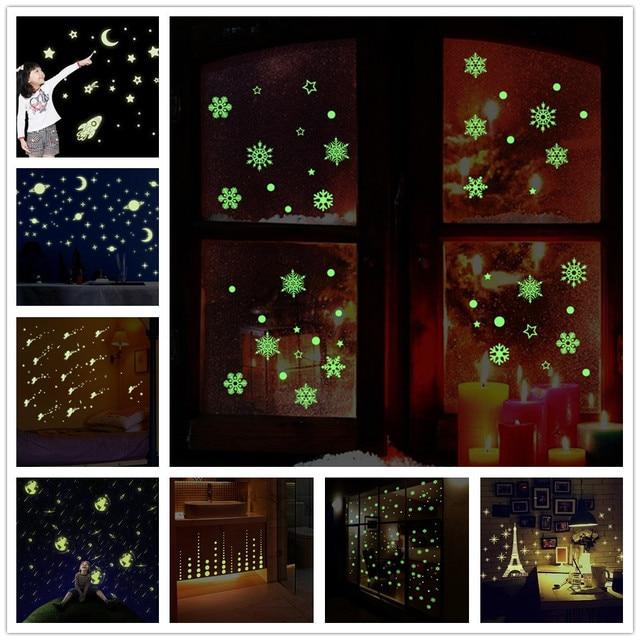 % 3D звездное небо звезды светятся в темноте стены наклейки световой люминесцентные настенные наклейки для детей Детская комната Спальня потолок дома