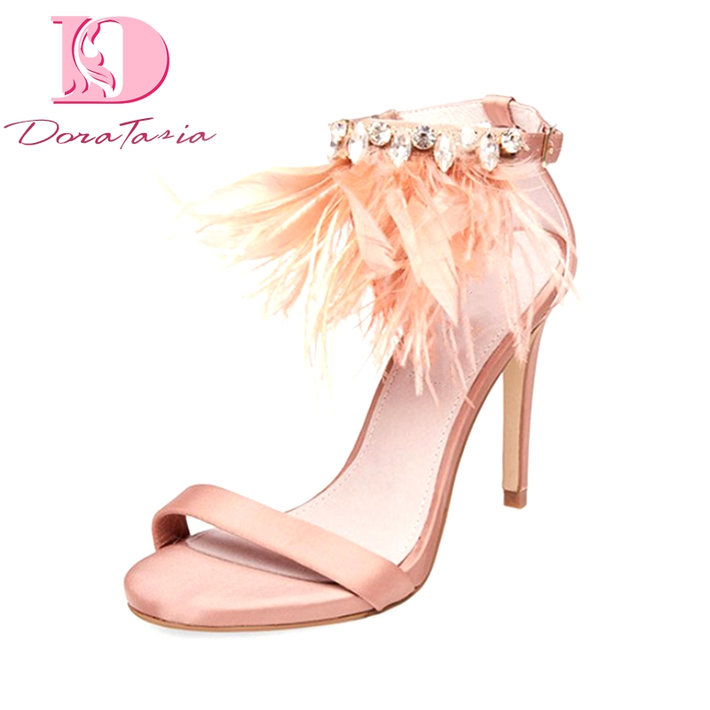 DoraTasia 2018 Brand Shoes Women Big Size 33-43 Summer Woman Shoes Sandal Footwear Thin High Heels Feather Party Wedding Sandals doratasia denim eourpean style big size 33 43 pointed toe women shoes sexy thin high heel brand design lady pumps party wedding