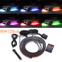 4pcs Car RGB LED Strip Light Under LED Strip Lights 7 Colors Waterproof 90/120cm Remote Control Chassis Atmosphere Light Kit