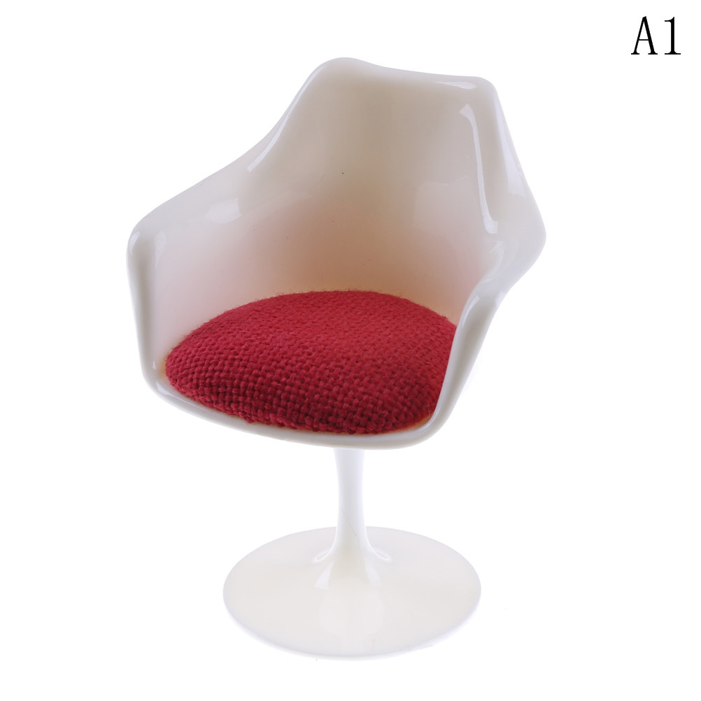 New Dolls Acce Classic 1:6 Scale Plastic Tulip Chair with Cushion Dollhouse Miniature Furniture Decor Toy for Doll House Kids