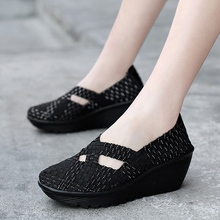 Women Shoes Flats 2020 Fashion Summer Sneakers Slip On Breathable Platform Woven Shoes Casual Footwear Handmade Big Size 41