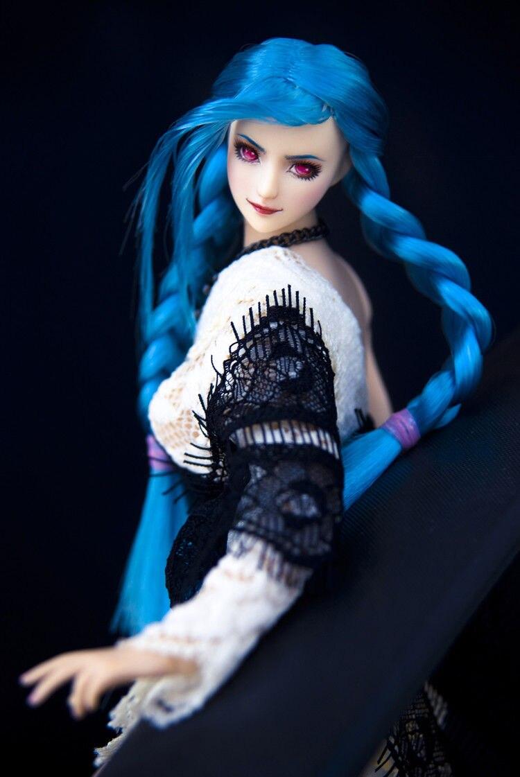 "1:6 Scale Ob27 Blue Hair Single Braid Ver Head Model For 12/"" Female Figure Body"