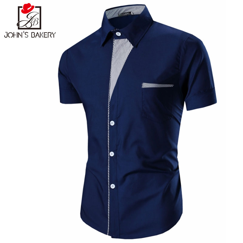 New brand 2017 men shirt personality splicing dress shirt for Fitted short sleeve dress shirts