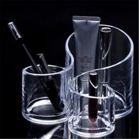 Large Wave Clear Acrylic Cylindrical Makeup Cosmetic Make Up Organizer Container Brush Holder Storage Box