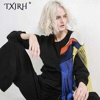 TXJRH Stylish Harajuku Rainbow Tassel Splice Mesh O Neck Pullover Sweatshirts Black Loose Sweats Women Loose Jumper Thicken Tops