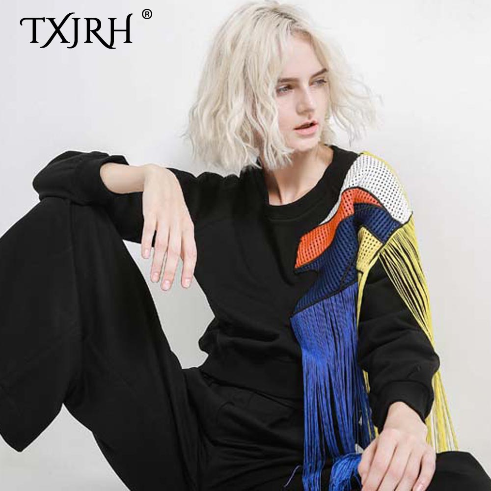 TXJRH Stylish Harajuku Rainbow Tassel Splice Mesh O Neck Pullover Sweatshirts Black Loose Sweats Women Loose Jumper Thicken Tops