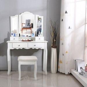 Image 1 - Nouveau 90x40x145cm commodes pour chambre maquillage vanité avec 3 miroirs 4 tiroirs tabouret chambre ensembles Dressing maquillage Table outils HWC