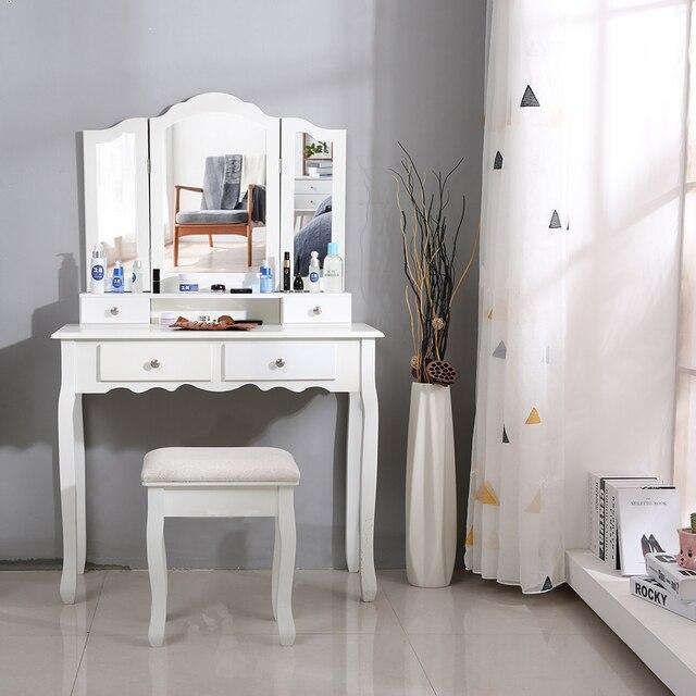 Nouveau 90x40x145cm commodes pour chambre maquillage vanité avec 3 miroirs 4 tiroirs tabouret chambre ensembles Dressing maquillage Table outils HWC