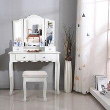 Tocador para dormitorio, tocador con 3 espejos, 4 cajones, taburete, juegos de dormitorio, herramientas de mesa de maquillaje, HWC, 90x40x145cm